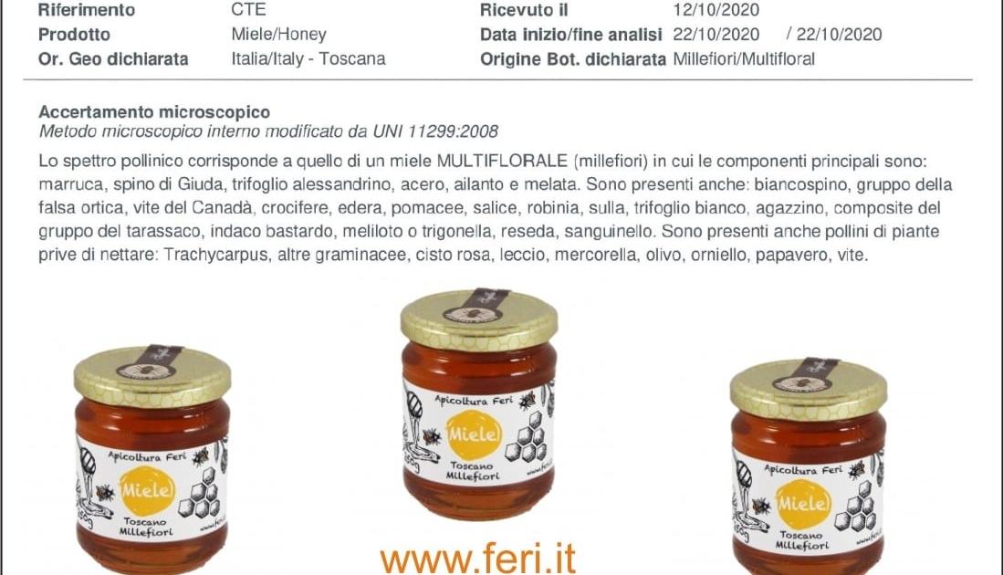 Analisi miele millefiori toscano