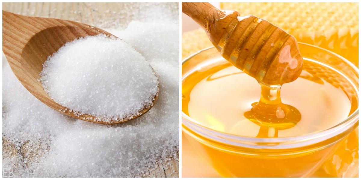 zucchero bianco contro il miele